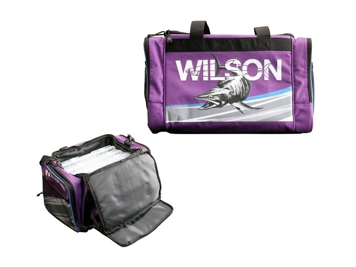 Wilson large purple fishing tackle bag with 4 tackle boxes for Fishing backpack tackle bag