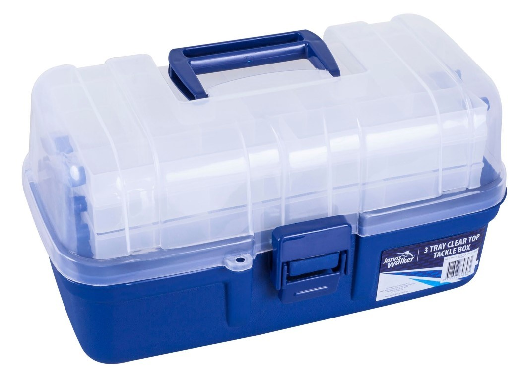 Jarvis walker 3 tray clear top fishing tackle box tackle for Fishing tackle storage
