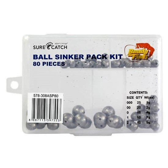 80 Ball Sinkers in Tackle Box - Surecatch Assorted Ball Sinker Pack