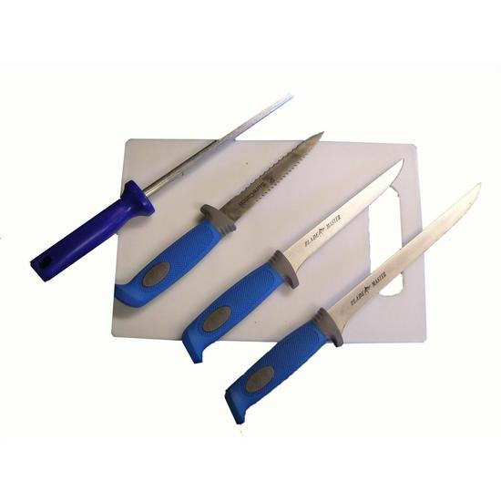 Surecatch Complete Knife Set - 3 Knives, Sharpening Steel, Cutting Board In Case