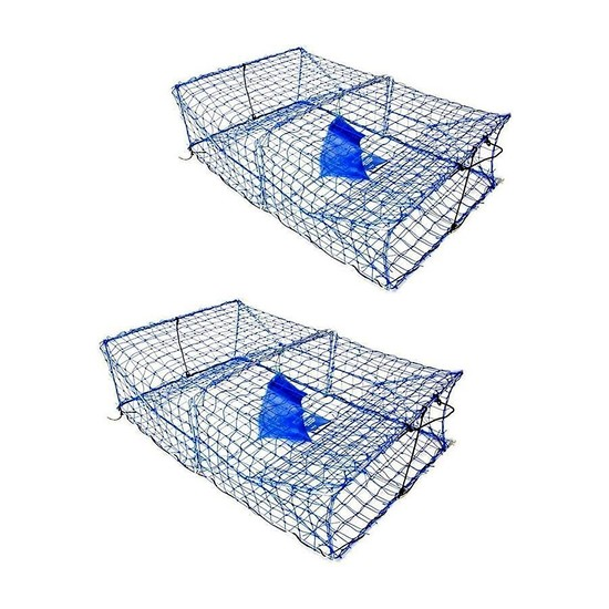 2 X WILSON HEAVY DUTY RECTANGULAR CRAB TRAPS - 2 ENTRY - TWIN PACK - BLUE MESH