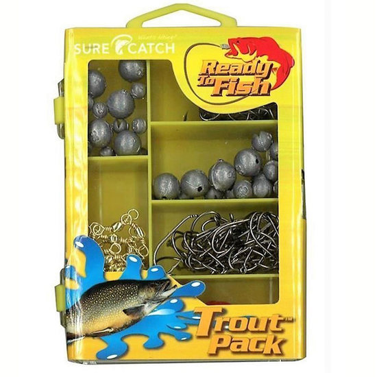 SURECATCH 153Pc TROUT PACK IN FISHING TACKLE BOX NEW