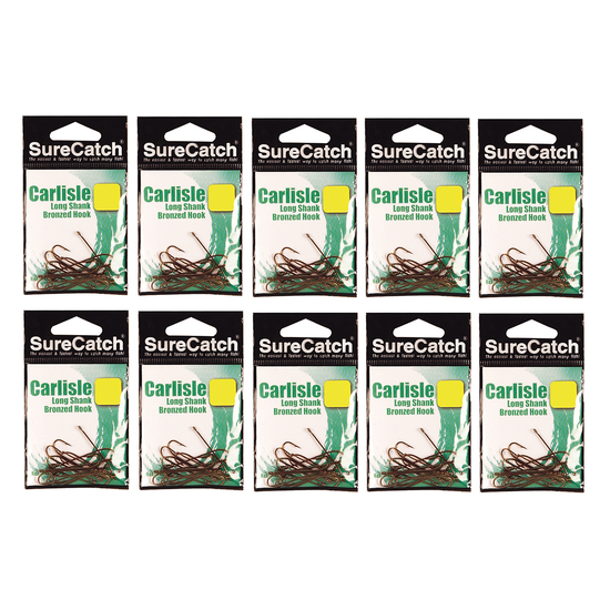 100 x Size 2/0 Surecatch Bronze Carlisle Fishing Hooks - 10 Pack Bulk Lot