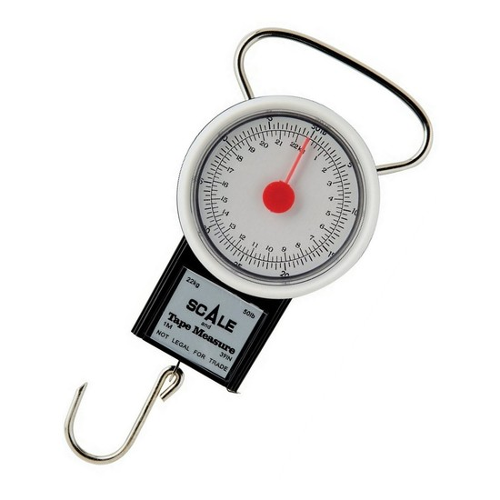 Berkley Portable 22kg Fish Weighing Scale with 1m Built-In Tape Measure