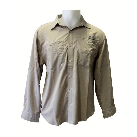 Wilson Beige Cool Change Long Sleeve Fishing Shirt -Lightweight Breathable Shirt