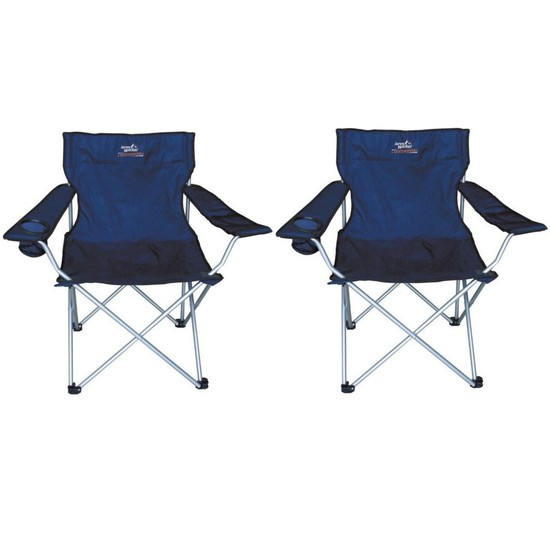 2 x Jarvis Walker Folding Camp/Fishing Chairs with Carry Bag & Cup Holder