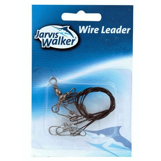 3 Pack of Jarvis Walker 60cm Pre-Rigged 13kg Black Wire Leader - Wire Trace
