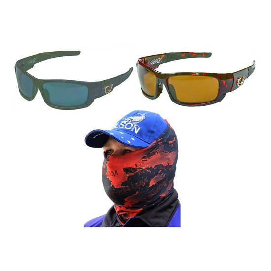 Mustad Hank Parker Polarized Fishing Sunglasses with Venom Head Scarf