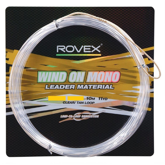 10m Length of 200lb Rovex Wind On Leader - Clear Mono Wind On Leader Material