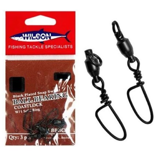 30lb Wilson Black Ball Bearing Swivel with Coastlock Snaps - Qty: 3  Size 1
