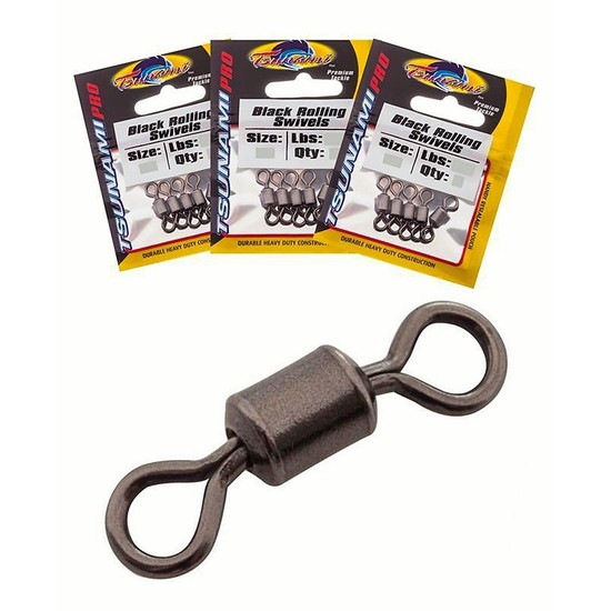 Bulk 3 Pack Tsunami Black Rolling Swivels - 7 Sizes To Choose From