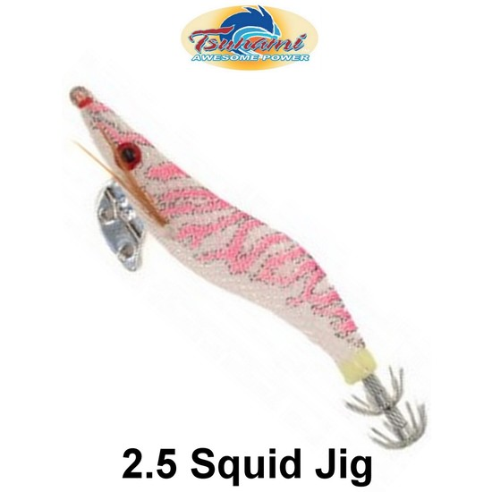 Tsunami Pro 2.5g Clear with Pink Stripes Premium Squid Jig - Holographic Eyes