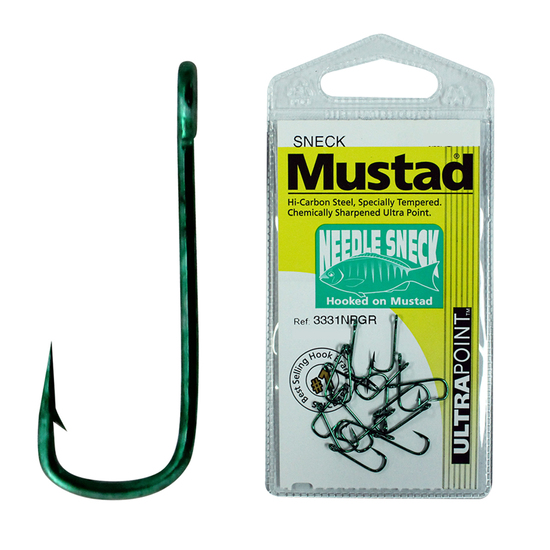 MUSTAD NEEDLE SNECK SIZE 12 QTY 18 - 3331NPGR CHEMICALLY SHARPENED FISHING HOOKS