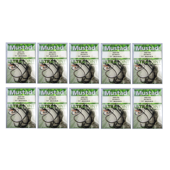 MUSTAD KEVIN VAN DAM GRIP PIN SIZE 3/0 - BULK 10 Pce VALUE PACK - 38101BLN