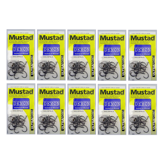 MUSTAD DEMON SIZE 4/0 - 39951NPBLN- BULK 10 Pce VALUE PACK -CHEMICALLY SHARPENED