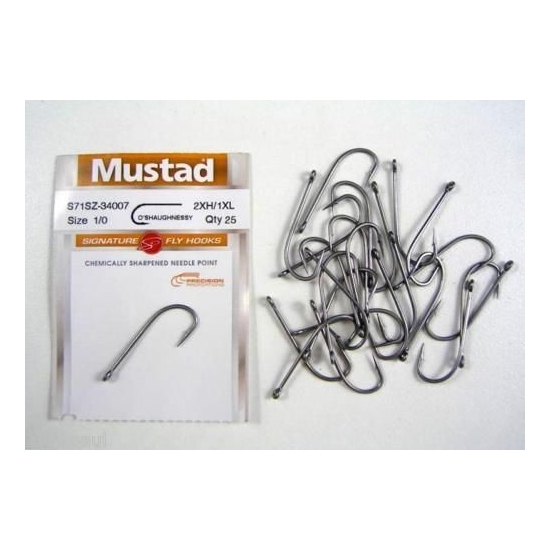 MUSTAD SIGNATURE FLY HOOKS O'SHAUGNESSY SIZE 1/0 QTY 25