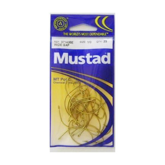 SIZE 1/0 MUSTAD 37140BE M.T POINT WIDE GAP HOOKS CHEM SHARP QTY - 23 Hooks