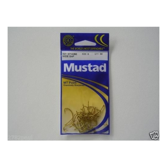 SIZE 6 MUSTAD 37140BE M.T POINT WIDE GAP HOOKS CHEM SHARP QTY 30 FISHING HOOKS