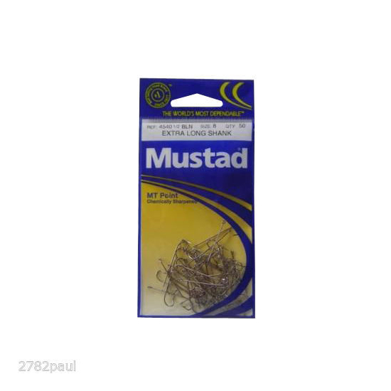 SIZE 8 MUSTAD 4540BLN M.T POINT EXTRA LONG SHANK HOOKS QTY 50 FISHING HOOKS