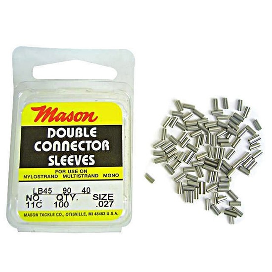 100 x Size 11 Mason Crimps - Crimping Connector Sleeves for Fishing Wire/Line