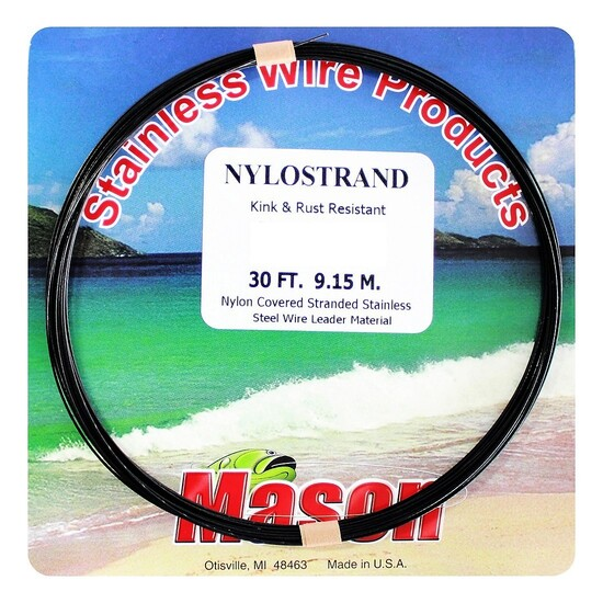 30ft Coil of 90lb Black Nylostrand Stainless Steel Fishing Wire Leader Material
