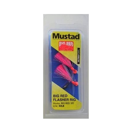 MUSTAD BIG RED FLASHER 3 HOOK FISHING RIG SIZE 3/0 NEW