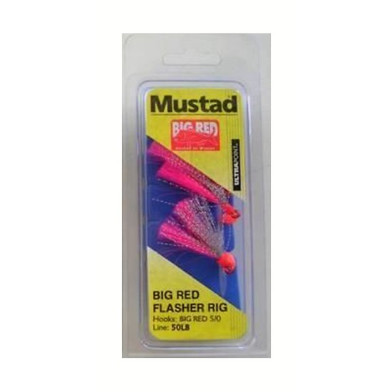 MUSTAD BIG RED FLASHER 3 HOOK FISHING RIG SIZE 5/0 NEW