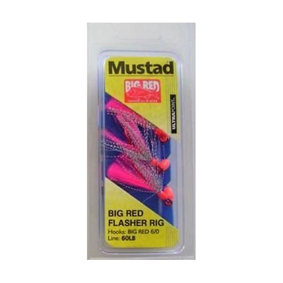 MUSTAD BIG RED FLASHER 3 HOOK FISHING RIG SIZE 6/0 NEW