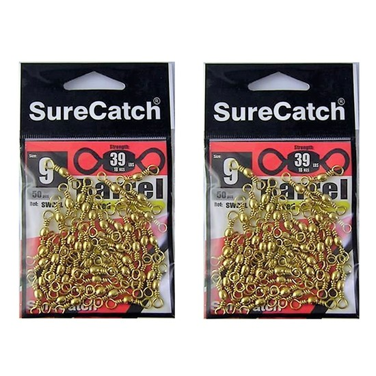 BULK FISHING SWIVELS - BRASS BARREL SIZE 9 - BULK PACK 100 Pce SURECATCH QUALITY