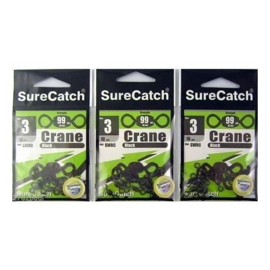 SIZE 3 BRAND NEW BLACK CRANE SWIVELS  - BULK PACK X 3 - 30 PIECES