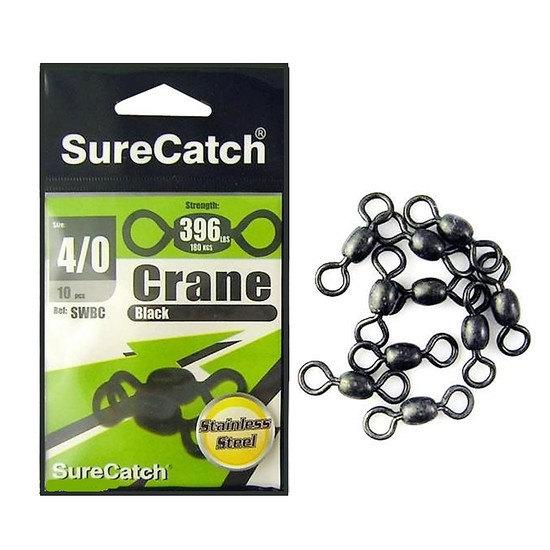 STAINLESS STEAL BLACK CRANE SWIVELS SIZE 4/0 - SURECATCH BRAND 10 PIECES