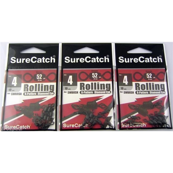 FISHING ROLLING SWIVELS - SIZE 4 - BULK 30 PCE PACK - X PATTERN - DIAMOND EYE