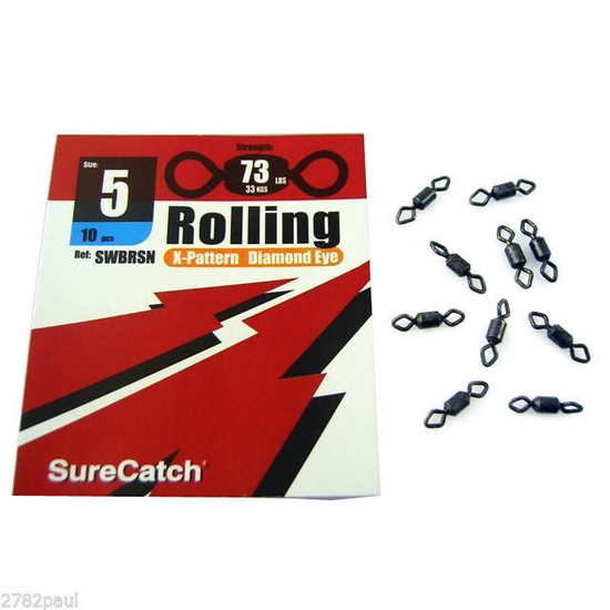 FISHING ROLLING SWIVELS - SIZE 5  - X PATTERN - DIAMOND EYE - BY SURECATCH