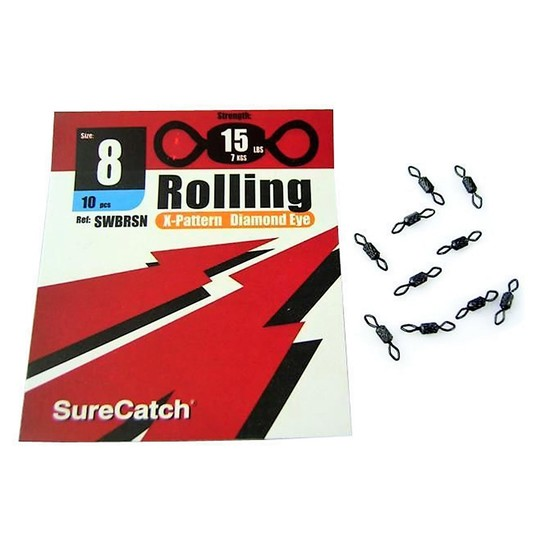 FISHING ROLLING SWIVELS - SIZE 8  - X PATTERN - DIAMOND EYE - BY SURECATCH