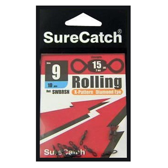FISHING ROLLING SWIVELS - SIZE 9  - X PATTERN - DIAMOND EYE - BY SURECATCH