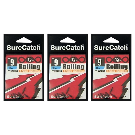 FISHING ROLLING SWIVELS - SIZE 9 - BULK 30 PCE PACK - X PATTERN - DIAMOND EYE