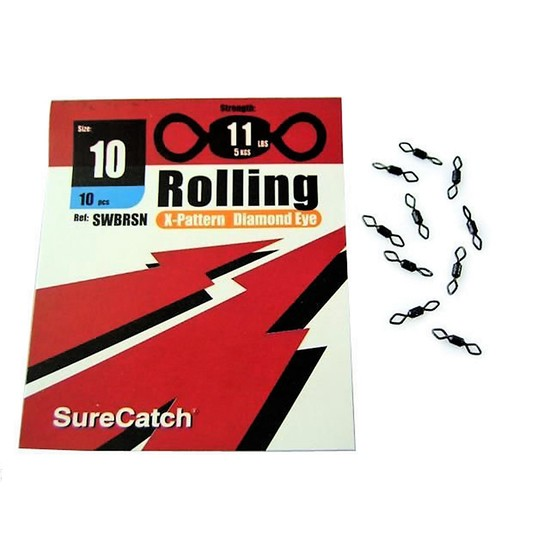 FISHING ROLLING SWIVELS - SIZE 10  - X PATTERN - DIAMOND EYE - BY SURECATCH