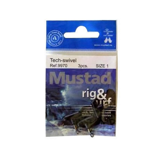 BRAND NEW MUSTAD RIG & SURF TECH-SWIVELS 3 PCE SIZE 1