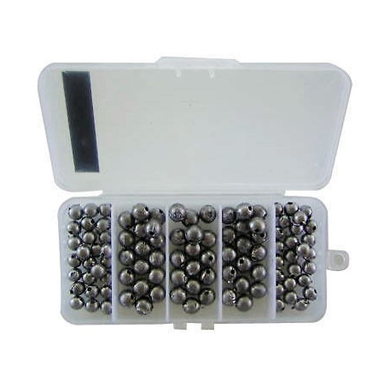 100 x Fishing Ball Sinkers - 50 x Size 00 + 50 x Size 0 in Tackle Box