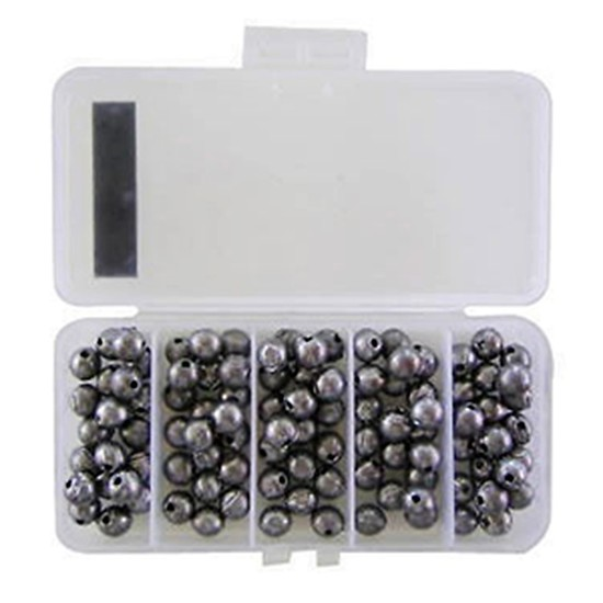 100 x Size 0 Fishing Ball Sinkers in Tackle Box