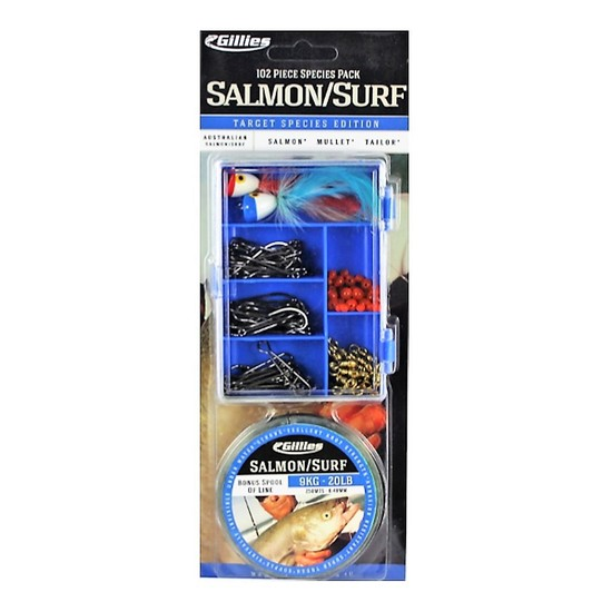 Gillies Salmon/Surf Tackle Pack - 102 Piece Assorted Tackle Kit With Fishing Line