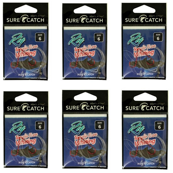 6 Pack of Surecatch Size 6 Tangle Free Whiting Rigs - Chemically Sharpened Hooks