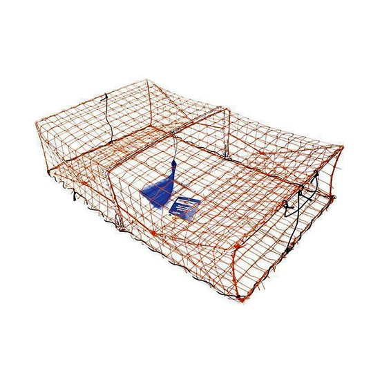 Wilson Heavy Duty Rectangular Crab Trap - 2 Entry - Orange Mesh Crab Pots