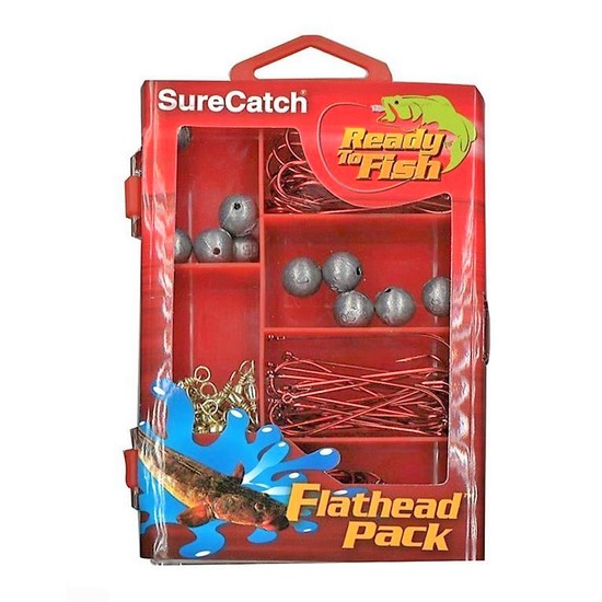 SURECATCH 130Pc FLATHEAD PACK IN FISHING TACKLE BOX NEW