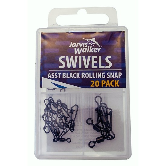 20 Pack of Jarvis Walker Assorted Black Rolling Fishing Swivels with Snaps