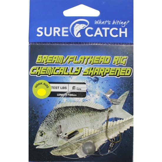 Surecatch Pre-Tied Bream/Flathead Fishing Rig with Chemically Sharpened Hook