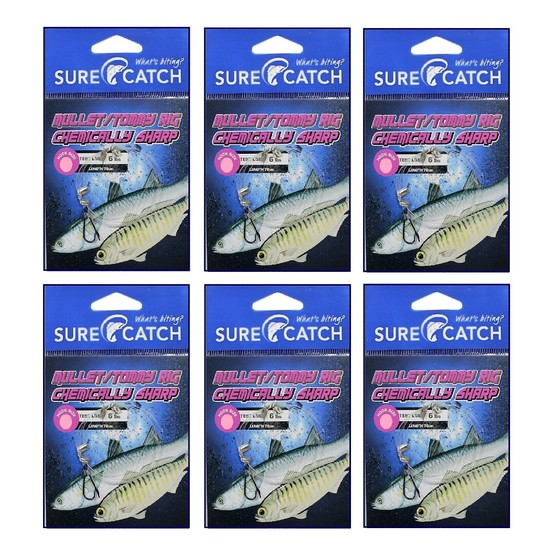 6 Pack of Surecatch Pre-Tied Mullet Rigs with Chemically Sharpened Fishing Hooks