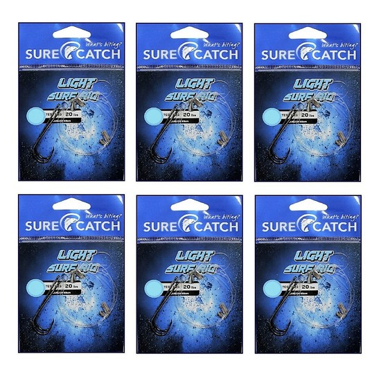 6 Pack of Surecatch Pre-Tied Light Surf Rigs with Chemically Sharpened Hooks