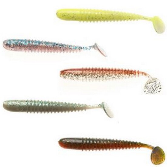 5 Pack of Berkley Powerbait 3.7 Inch T-Tail Shad Soft Plastic Fishing Lures
