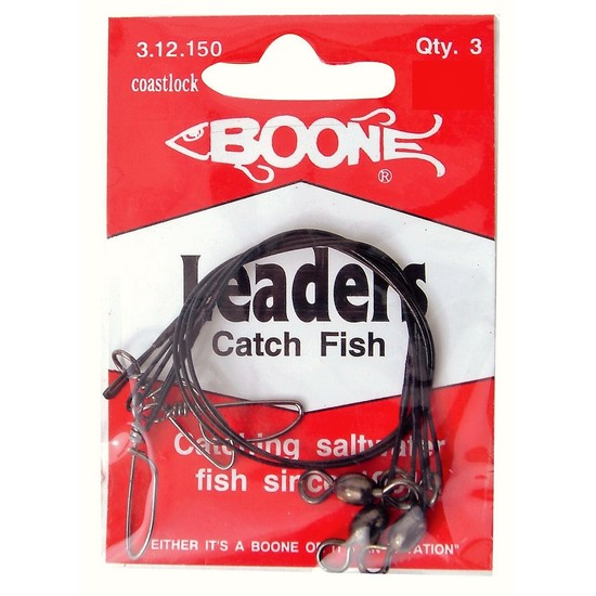 3 Pack of Boone Black Nylon Coated Stainless Steel Fishing Wire Leaders